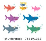 family shark set of colorful... | Shutterstock .eps vector #756191383