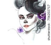 portrait of halloween girl on... | Shutterstock . vector #756202717