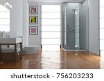 flooding concept with flooded... | Shutterstock . vector #756203233