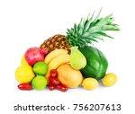 assortment of exotic fruits... | Shutterstock . vector #756207613