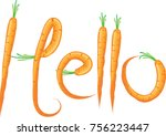 carrot design hello | Shutterstock .eps vector #756223447