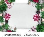 christmas still life. red toys  ... | Shutterstock . vector #756230077