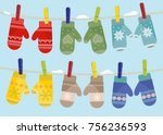 set of mittens hanging on the... | Shutterstock .eps vector #756236593