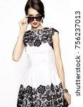 brunette woman wearing lace... | Shutterstock . vector #756237013
