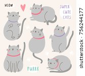 super cute set of vector cat...   Shutterstock .eps vector #756244177