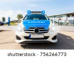 german police car on street ... | Shutterstock . vector #756266773