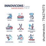 winter sports   line design...   Shutterstock .eps vector #756274573