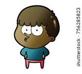 cartoon curious boy | Shutterstock .eps vector #756285823
