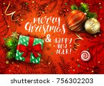 handwritten inscription merry... | Shutterstock .eps vector #756302203