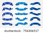 blue ribbons set.vector ribbon... | Shutterstock .eps vector #756306517
