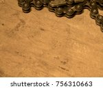 composition of bike chain on... | Shutterstock . vector #756310663