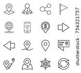 thin line icon set   pointer ... | Shutterstock .eps vector #756321757