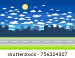 pixel art game background with... | Shutterstock .eps vector #756324307