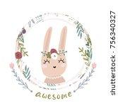 cute cartoon bunny girl in... | Shutterstock .eps vector #756340327