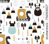 childish seamless pattern with... | Shutterstock .eps vector #756343027
