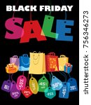 black friday sale. colorful... | Shutterstock .eps vector #756346273