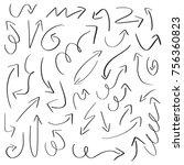 set of handdrawn arrow doodle... | Shutterstock .eps vector #756360823