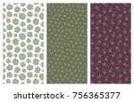set of vector seamless floral... | Shutterstock .eps vector #756365377