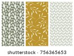 set of vector seamless floral... | Shutterstock .eps vector #756365653