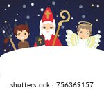 cute st. nicholas with devil... | Shutterstock .eps vector #756369157