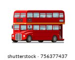 london double decker red bus.... | Shutterstock .eps vector #756377437
