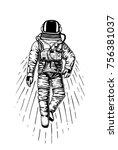 astronaut spaceman. planets in...   Shutterstock .eps vector #756381037