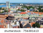 aerial view of old town  riga ... | Shutterstock . vector #756381613
