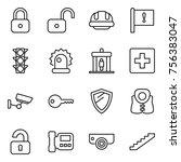 thin line icon set   lock ... | Shutterstock .eps vector #756383047