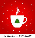 christmas hot coffee or... | Shutterstock .eps vector #756384427