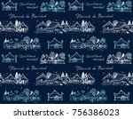 seamless vector pattern with... | Shutterstock .eps vector #756386023
