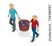 isometric workers harvesting... | Shutterstock .eps vector #756388987
