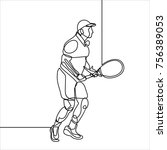 man tennis player action line... | Shutterstock .eps vector #756389053