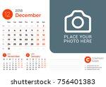 desk calendar for december 2018 ... | Shutterstock .eps vector #756401383