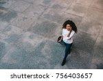 top view portrait of young... | Shutterstock . vector #756403657