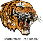 saber toothed tiger face | Shutterstock . vector #756406507