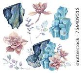 watercolor set with gemstones... | Shutterstock . vector #756409513