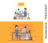 businessman character with... | Shutterstock .eps vector #756413647