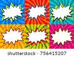 speech bubbles set. pop art... | Shutterstock .eps vector #756415207