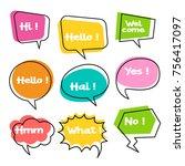 colorful balloon speech bubbles ... | Shutterstock .eps vector #756417097