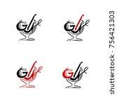 bar logo.  text gin in...   Shutterstock .eps vector #756421303