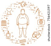 fat man with medical devices ... | Shutterstock .eps vector #756421597