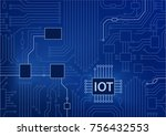 iot text displayed on circuit... | Shutterstock .eps vector #756432553