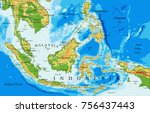 indonesia  physical map   Shutterstock .eps vector #756437443