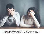 sad young couple sitting in... | Shutterstock . vector #756447463