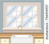 kitchen interior fragment with...   Shutterstock .eps vector #756454957
