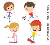 fun kids play sports. active... | Shutterstock .eps vector #756457597