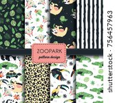 set of 8 seamless zoo pattern... | Shutterstock .eps vector #756457963