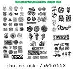 mexican prehispanic tiles vector | Shutterstock .eps vector #756459553
