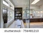 contemporary master bathroom... | Shutterstock . vector #756481213