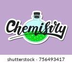 chemistry science. the logo... | Shutterstock .eps vector #756493417